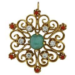 Emerald Coral Diamond Gold Brooch