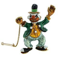 Enamel Diamond Gold Clown Brooch