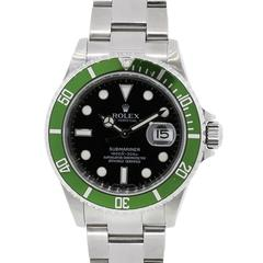 Rolex Stainless Steel Submariner Green Bezel Black Dial Wristwatch Ref 16610LV