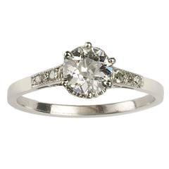Art Deco 0.84 Carat Diamond Platinum Single Stone Ring