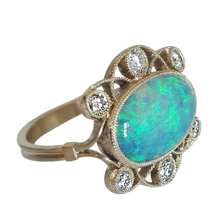 Dalben Australian Opal Diamond Yellow Gold Ring