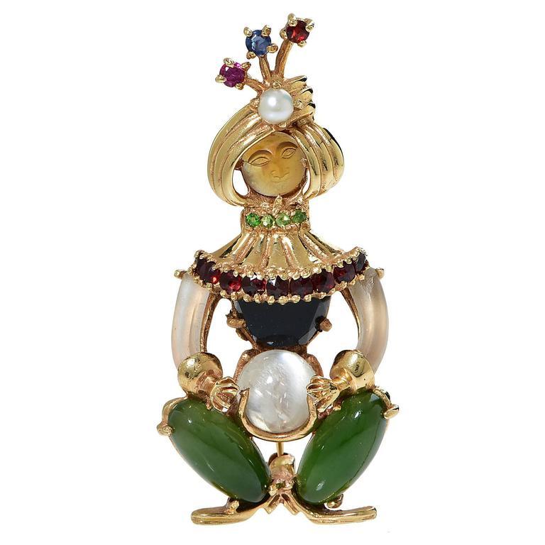 Harlequin Gemstone Gold Brooch