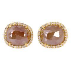 Ice Diamond Gold Stud Earrings