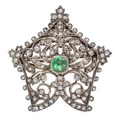 Antique Emerald Diamond Foliate Pin