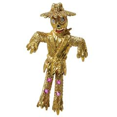 Diamond Gold Scarecrow Brooch