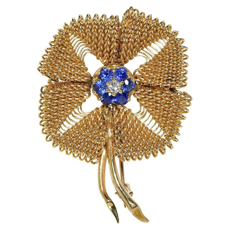 Sapphire Diamond Gold Brooch For Sale