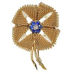 Sapphire Diamond Gold Brooch