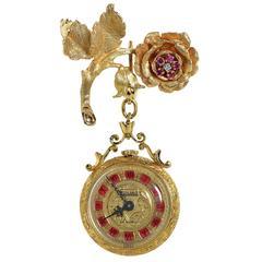 Toliro Diamond Garnet Enamel Watch Brooch