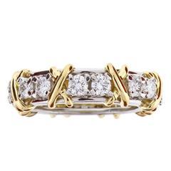 "Tiffany & Co. Schlumberger Diamond Gold Platinum ""X"" Ring"