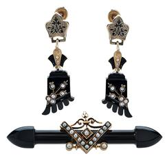 Victorian Mourning Earrings and Brooch