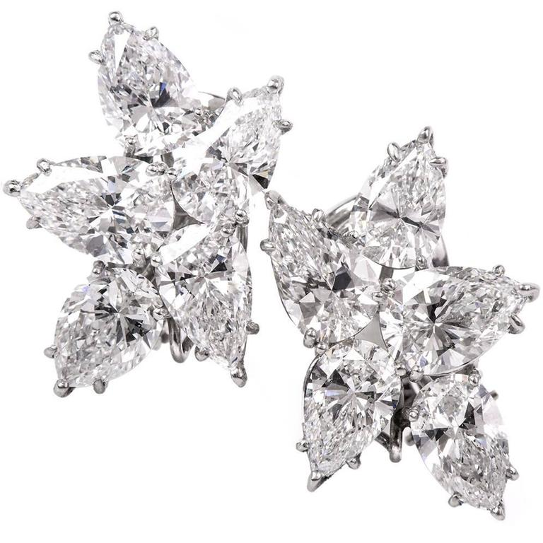 1960s Pear GIA Certified Diamond Platinum Cluster Earrings