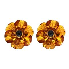 Amber Cabochon Sapphire Gold Flower Earrings