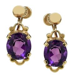 Amethyst Gold Earring and Necklace Set