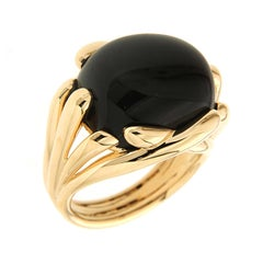 Black Onyx Gold Fluted Criss Cross Ring