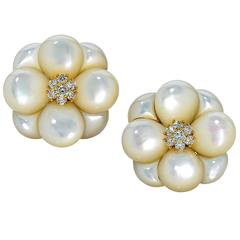 Van Cleef & Arpels Mother of Pearl Diamond Gold Earrings