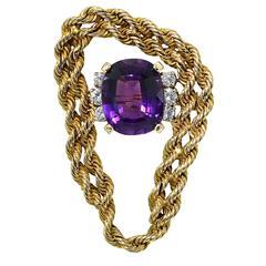 7.50 Carat Amethyst Diamond Gold Brooch