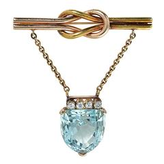 20 Carat Aquamarine Diamonds Two Color Gold Brooch