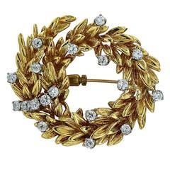 1.80 Carats Diamonds Gold Wreath Brooch