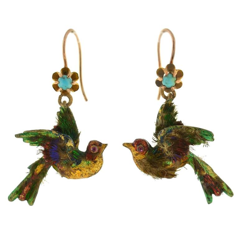 Rare Victorian Enamel Genuine Feather Ruby Turquoise Gold Bird Earrings
