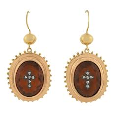 Victorian Citrine Rose Cut Diamond Gold Cross Earrings