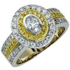 1.30 Carat Diamond Two Color Gold Ring