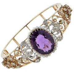 Amethyst Pearl Diamond Gold Victorian Bangle Bracelet