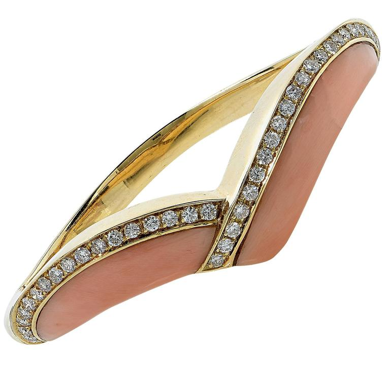 Coral Diamond Gold Bangle Bracelet