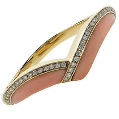 Coral Diamond Gold Bangle Bracelet