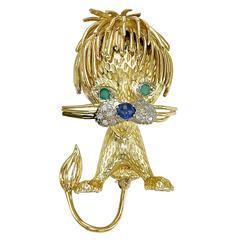 Sapphire Emerald Diamond Gold Dog Brooch