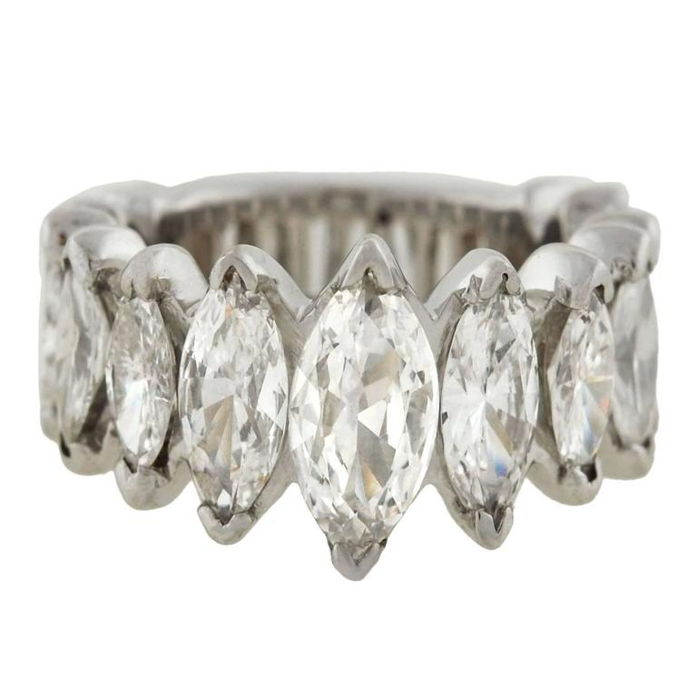 boca diamond product platinum eternity raton bands shaped wide pear ring baguette band