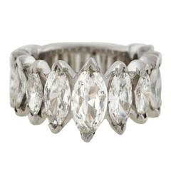 Wide Marquise Cut Diamonds Platinum Eternity Band Ring
