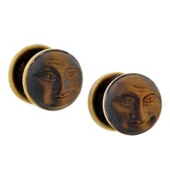 "Victorian Hand Carved Tiger's Eye Gold ""Man in the Moon"" Cufflinks"