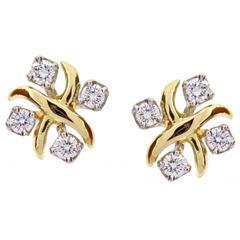 Tiffany & Co. Jean Schlumberger Lynn Diamond Gold Platinum Earrings