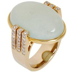 Natural Sea Foam Oval Cabochon Beryl Diamond Gold Cocktail Ring