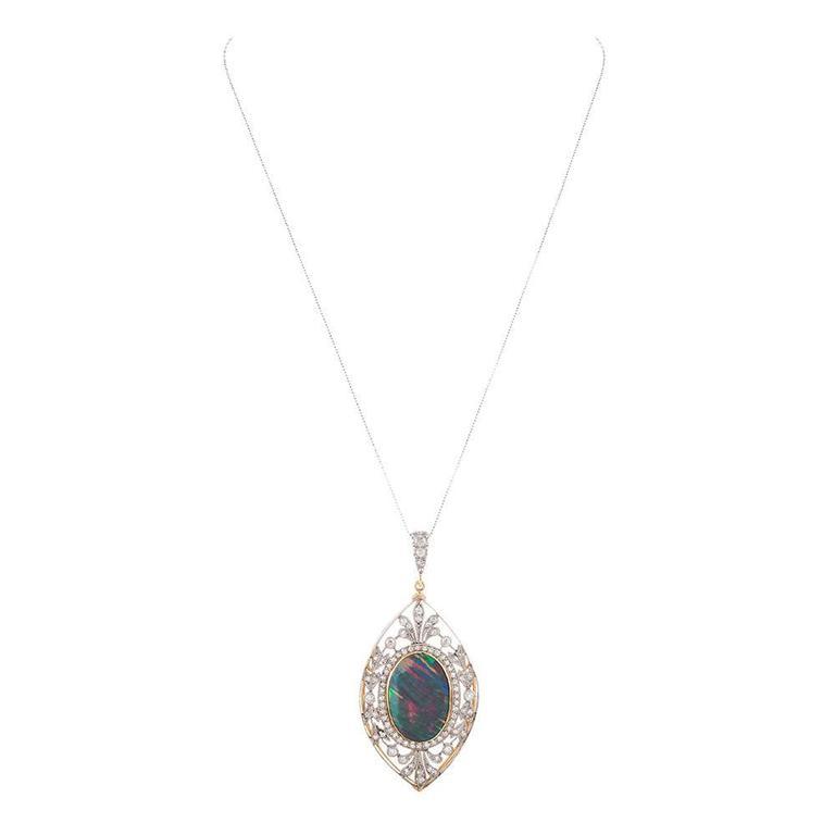 Edwardian 11.50 Carat Opal Diamond Gold Platinum Pendant