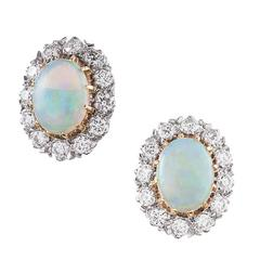 Oval Opal Diamond Two Color Gold Cluster Stud Earrings