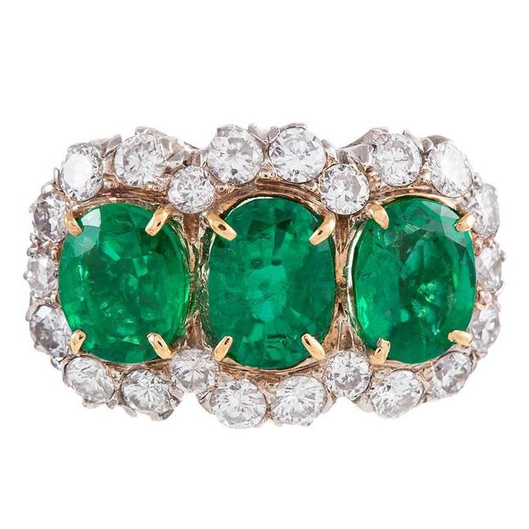 1960s Emerald Diamond Two-Color Gold Cluster Ring For Sale