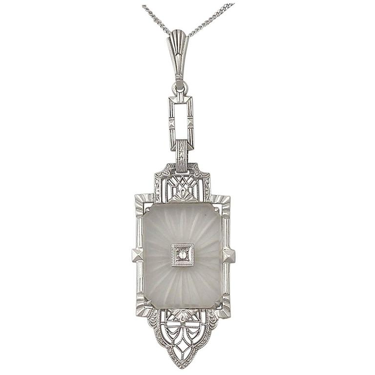 Diamond and Crystal, 14k White Gold Pendant - Art Deco - Antique Circa 1920 For Sale