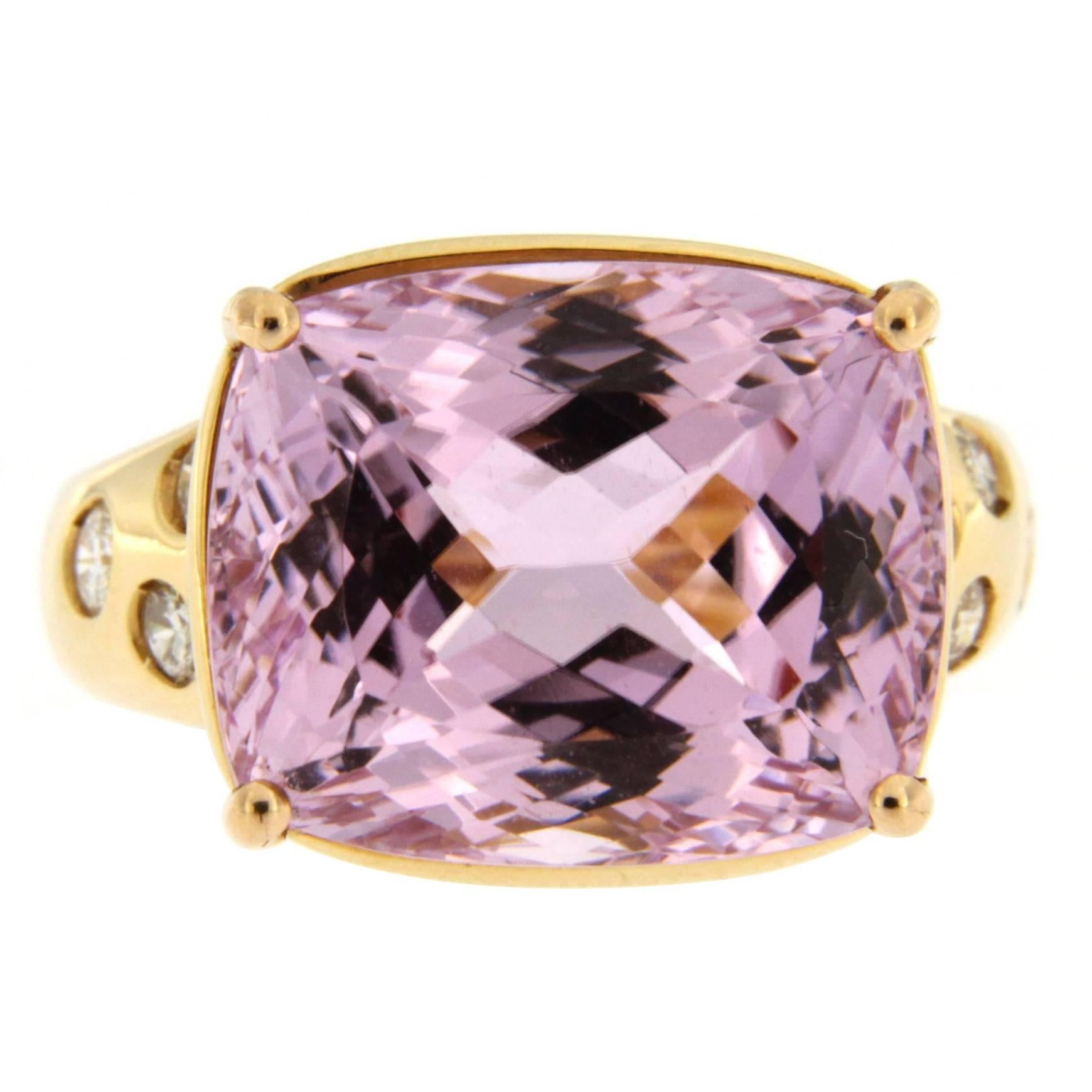 Alex Jona Kunzite Diamond 18 Karat Yellow Gold Ring