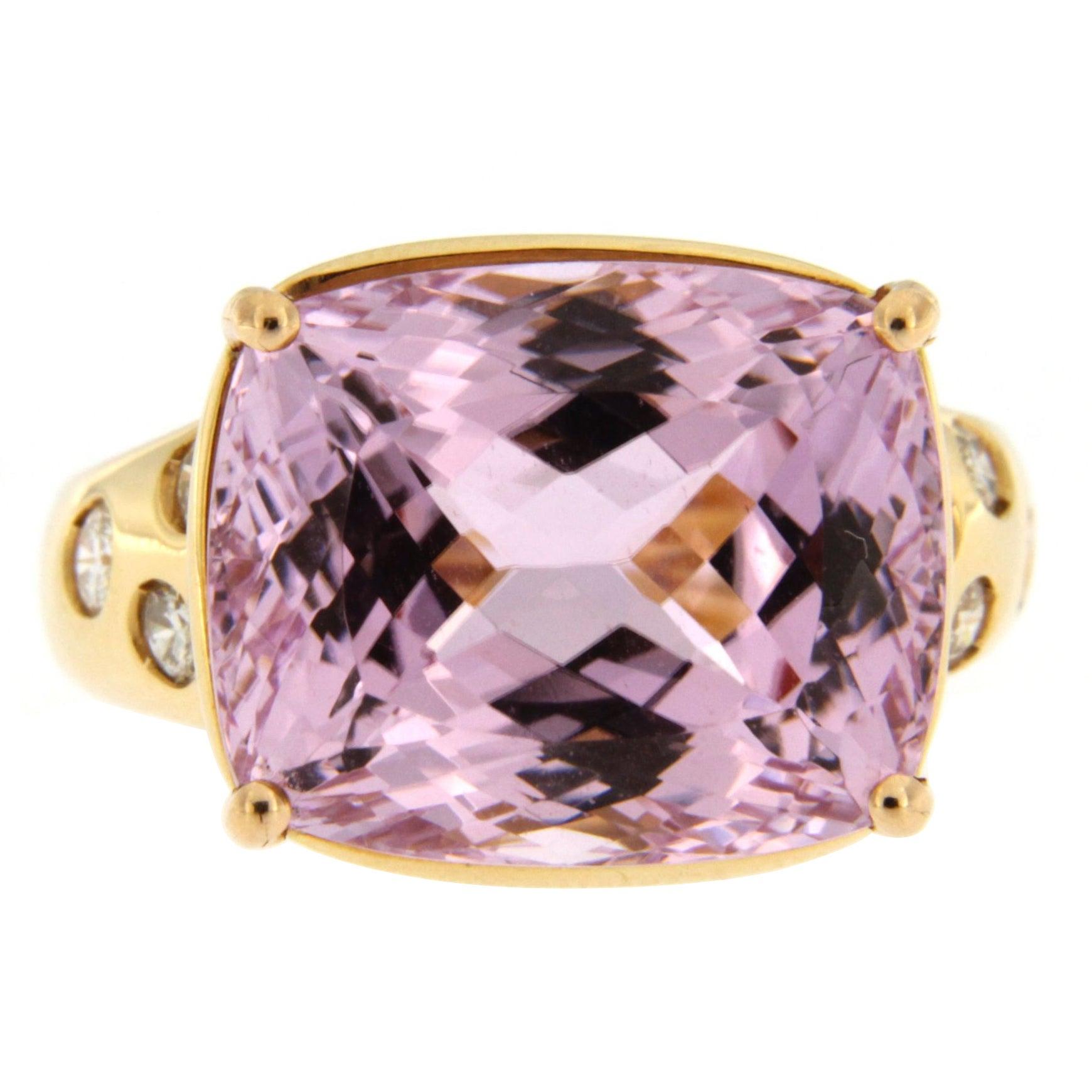 6.75 Carat Kunzite and Diamond 18 Karat White Gold Ring For Sale at ...