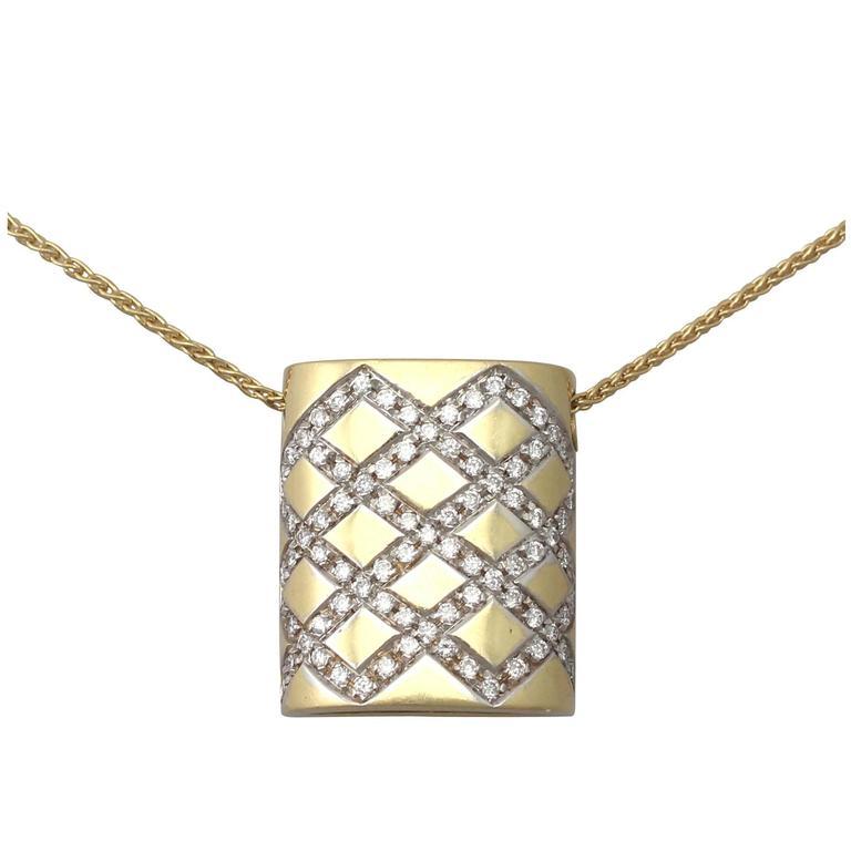 0.65Ct Diamond & 18k Yellow Gold, 18k White Gold Set Pendant - Vintage Belgian For Sale