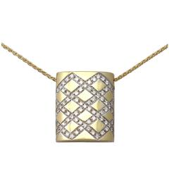0.65Ct Diamond & 18k Yellow Gold, 18k White Gold Set Pendant - Vintage Belgian
