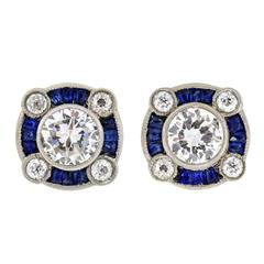 Sapphire Diamond Platinum Stud Earrings