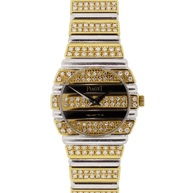 Piaget Lady's Yellow and White Gold Diamond Quartz Wristwatch For Sale