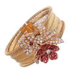 French Gold Mesh Ribbon Bracelet with Detachable Floral Brooch