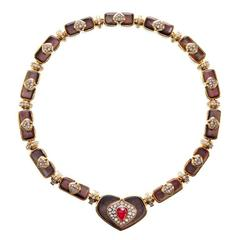 Harry Winston Black Mother of Pearl Ruby Diamond Gold Necklace