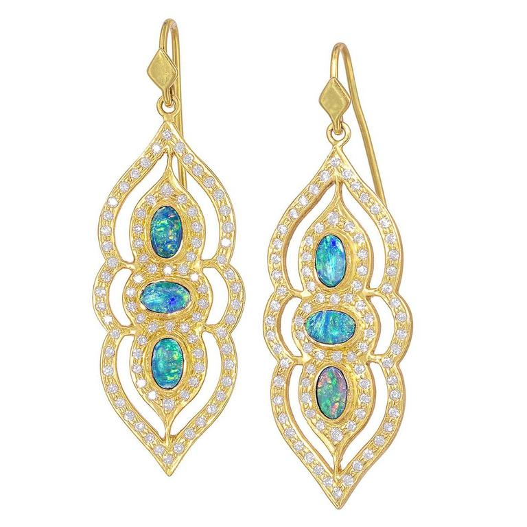 Lauren Harper Boulder Opal White Diamond One of a Kind Arabesque Drop Earrings For Sale
