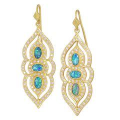 Lauren Harper Boulder Opal White Diamond One of a Kind Arabesque Drop Earrings