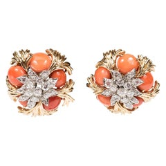 Mid-Century Pair of 18k Gold, Platinum, Coral and Diamond Earclips by David Webb