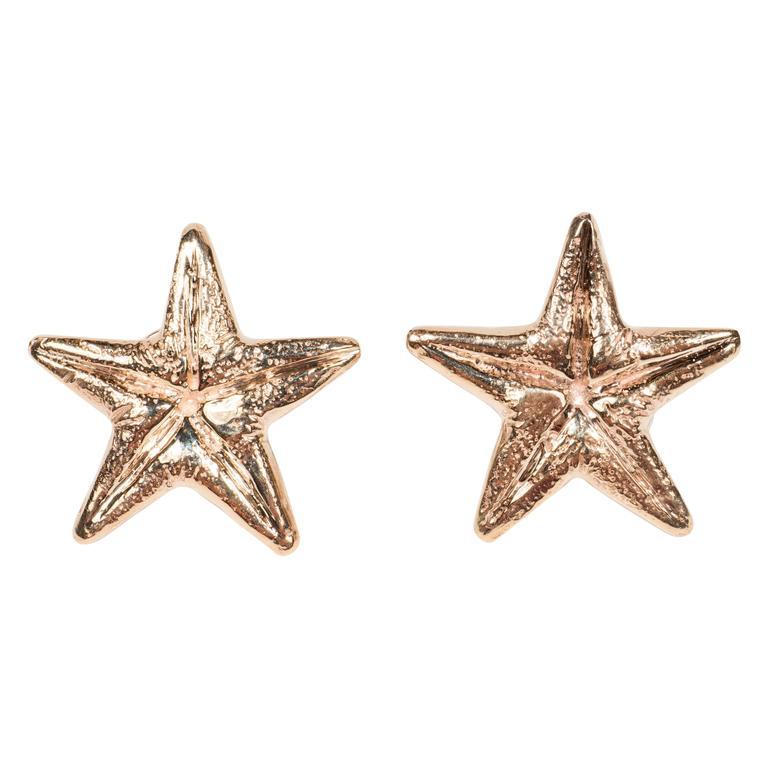 Seaman Schepps Mid-Century Modernist Gold Starfish Earrings For Sale